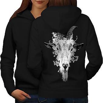Paint Drop Goat Face Women BlackHoodie Back | Wellcoda