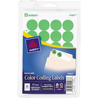 Avery Print/Write Self-Adhesive Removable Labels 1008/Pkg-Neon Green, .75