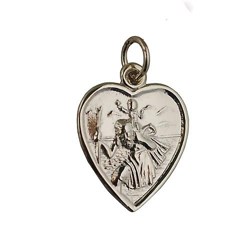 9ct Gold 17x16mm heart St Christopher Charm