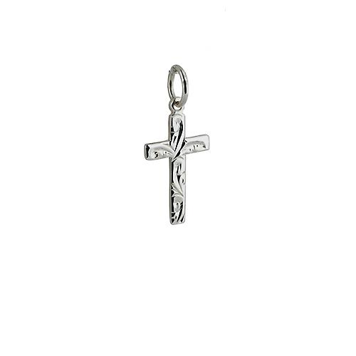 Silver 16x10mm hand engraved flat latin Cross