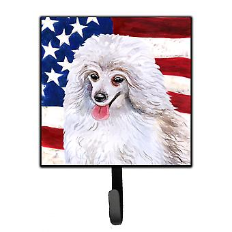 Carolines Treasures  BB9683SH4 Medium White Poodle Patriotic Leash or Key Holder