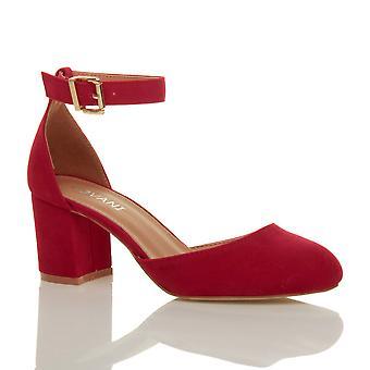 Ajvani mujeres bajas medio bloque del talón del tobillo correa zapatos sandalias de mary jane corte