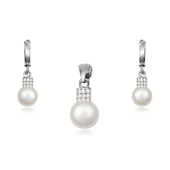 Beads stones Cz and 925 Silver earrings and pendant set