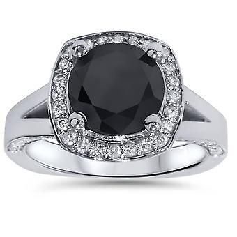 3 5/8 ct Black Diamond Halo Split Shank forlovelsesring 14K hvitt gull