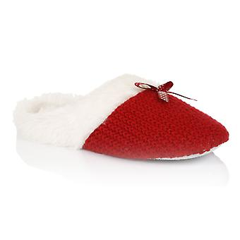 Loungeable, Ladies Moss Stitch Cable Slip On Mule Slippers, Red, Medium (UK 5-6)