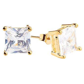 Iced out bling square cubic zirconia Stud Earrings - gold