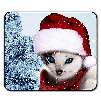 Christmas Cat  Non-Slip Mouse Mat Pad 24cm x 20cm | Wellcoda