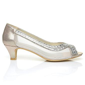 TRUE Gold Shimmering Diamante Low Heel Peep Toe Party Shoes