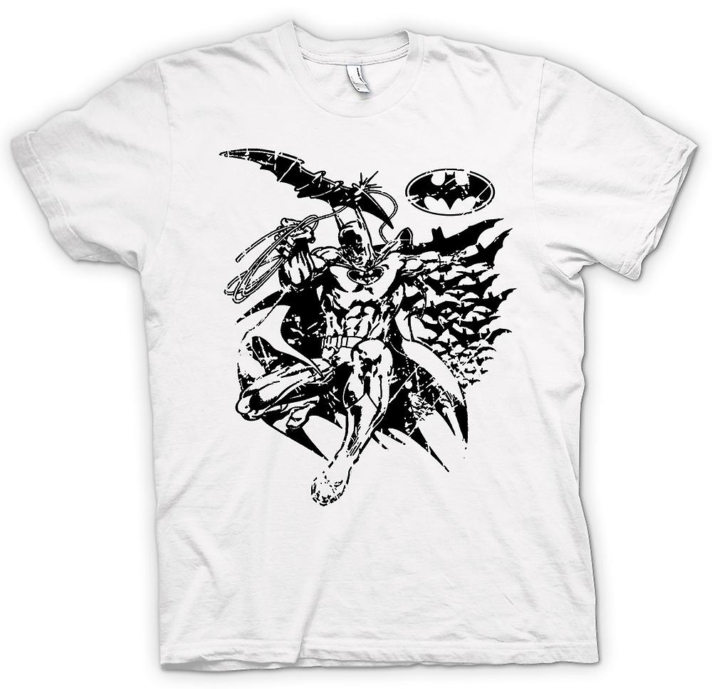 Womens T-shirt - Batman Bats Caped - Crusader - BW