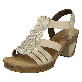 Ladies Rieker Slingback Heeled Sandals 69702-60 - Beige Synthetic - UK Size 8 - EU Size 42 - US Size 10