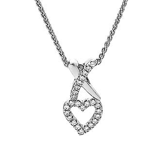 Orphelia Chain With Pendant Heart And Kiss 925 Silver With Zirconium  ZH-7361