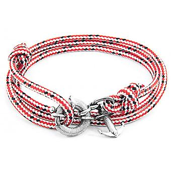 Anchor and Crew Clyde Silver and Rope Bracelet - Red Dash