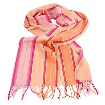 Bassin and Brown Harvey Stripe Cashmere Scarf - Orange/Pink