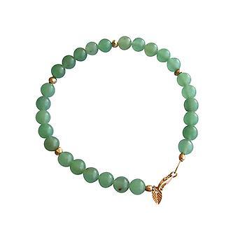 Gemshine - dames - bracelet - Aventurine verte - vert - or plaqué - 6 mm