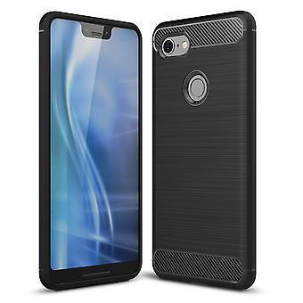 Google pixel 3 XL cover silikon svart kol ser fall TPU telefon fallet stötfångare