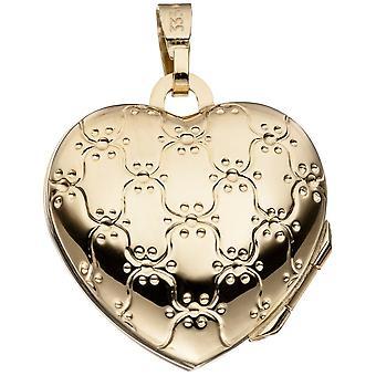 Medaljong anheng hjertet 333 frostet gull gult gull hjerte medaljong hjerte anheng-gull