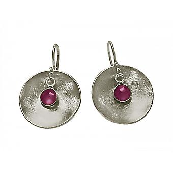Ladies earrings 925 Silver shell Ruby Red 3 cm
