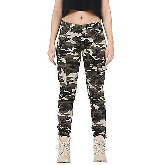 Camouflage Slim Stretch Cargo Pants - Green & Brown