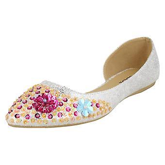 Ladies Spot On Sequin Ballerinas - Silver Textile - UK Size 7 - EU Size 40 - US Size 9