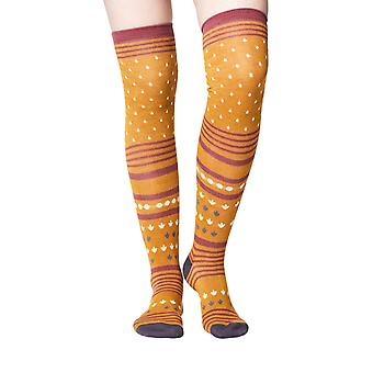 Esana women's soft bamboo over-the-knee socks in mustard | By Thought