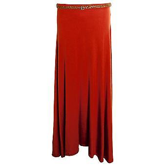 Lange Gypsy nieuwe dames Belted Plain Gekleurde Jersey Maxi Jurk Dames Rok