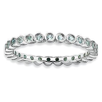 Sterling sølv Bezel poleret mønstrede Rhodium-belagt stabelbare udtryk Aquamarine Ring - Ring størrelse: 5-10