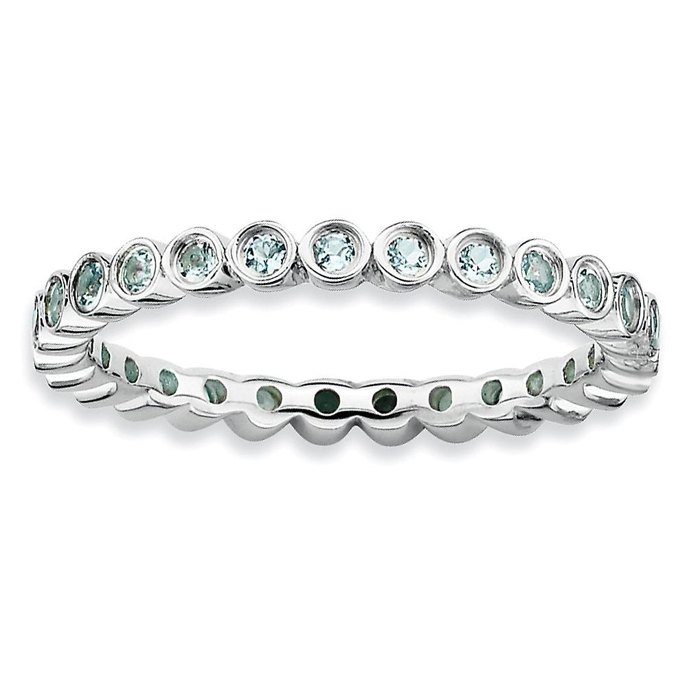 Sterling argent Bezel Polished Patterned Rhodium-plated Stackable Expressions Aquamarine Ring - Ring Taille  5 to 10