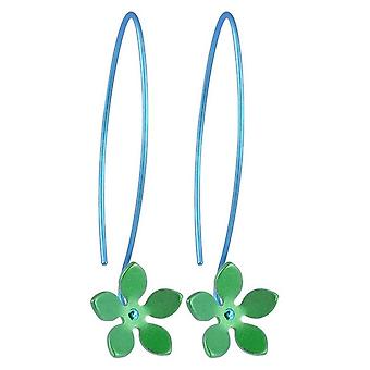 TI2 Titanium 13mm fünf Blütenblatt Blüte Drop Ohrringe - frisches Grün