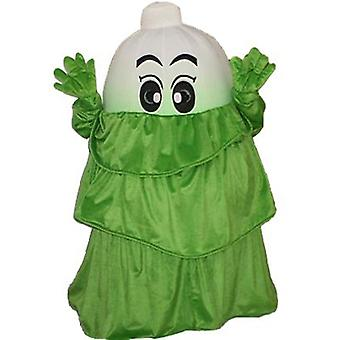 mascot SPOTSOUND of leek, vegetable white, with a green dress