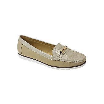 JLY045 Wąż Panie Mirren skóra złoty łańcuch wygodne nierób Casual buty łódź