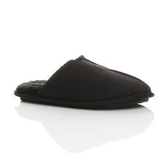 Ajvani mens plat winter bont gevoerde geheugen schuim cadeau muildieren slippers huis schoenen
