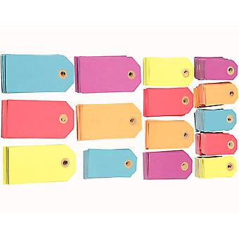 500 Mixed Luggage Style Bright Coloured Tags for Crafts | Christmas Gift Wrap