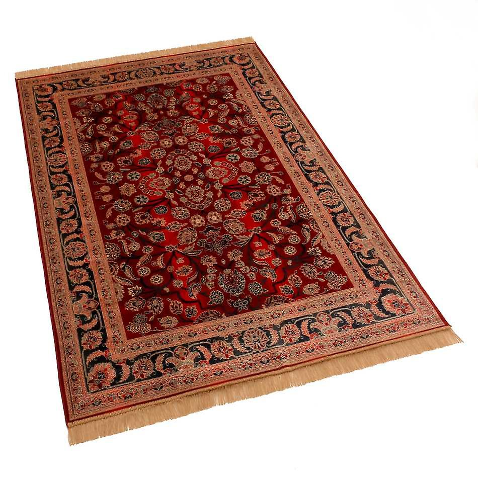 Red Afghan Ziegler Traditional Artsilk Faux Silk Effect Rugs 5663/12 140 x 200cm