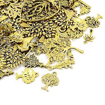 Пакет 30 граммов Античная золотая тибетских 5-40 мм дерево очарование/Кулон микс HA07085