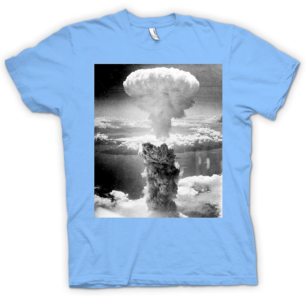 Mens T-shirt-nuklearer Atompilz und weiß