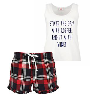 Start The Day With Coffee End It With Wine Ladies Tartan Frill Short Pyjama Set Red Blue or Green Blue