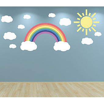 Full Colour Pastel Rainbow Clouds and Sun Wall Sticker Set