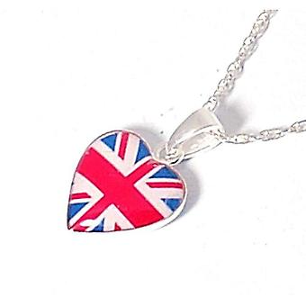 The Olivia Collection Sterling Silver Union Jack Puffed Heart Pendant
