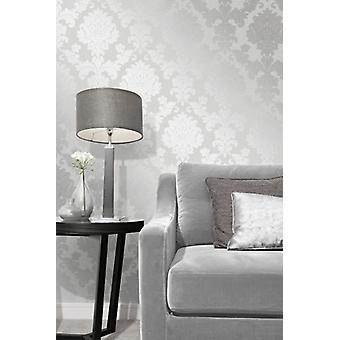 Elegant Quartz Damask Silver Wallpaper Wall Decoration 0.52m x 10.05m