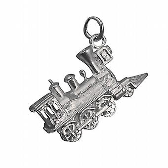 Silver 16x27mm solid Steam Locomotive Pendant or Charm