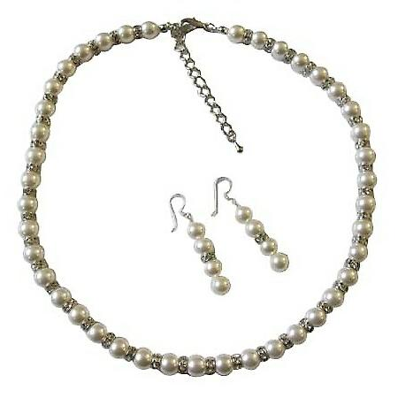 Bridal White Pearls Jewelry Swarovski White Pearls Necklace Earrings