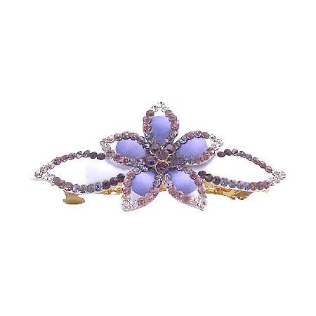 Barrette Hand Painted w/ Amethyst Light & Dark Crystals Hair Jewelry