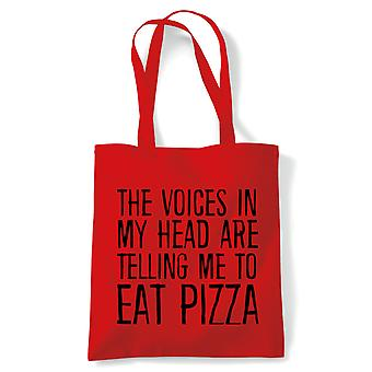 Voices In My Head Eat Pizza Tote| Reusable Shopping Cotton Canvas Long Handled Natural Shopper Eco-Friendly Fashion | Gym Book Bag Birthday Present Gift | Multiple Colours Available