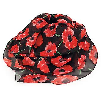 Eternal Collection Forever Poppy Red And Black Multi Coloured Pure Silk Scarf