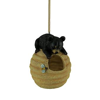 Oh Honey Black Bear On Beehive Hanging Bird Feeder