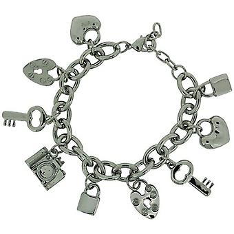 ADORN Silvertone 9 Hanging Charms Chunky Bracelet 7