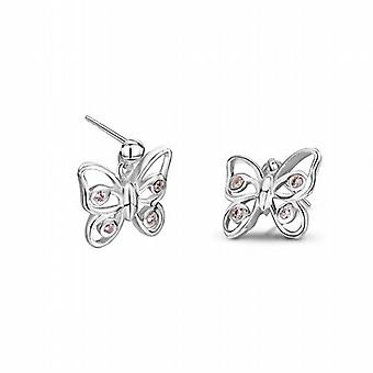 Jo For Girls Sterling Silver Pink Crystal Butterfly Earrings