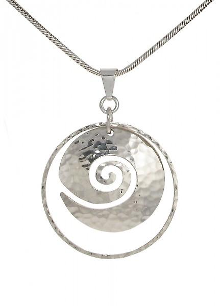 Cavendish French Hammered Sterling silver swirl pendant without Chain