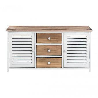 Rebecca Mobile Furniture Cupboard 3 Drawers 2 Doors wood natural white Shabby Chic bathroom