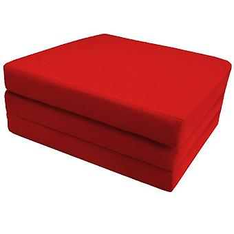 Cotton Single Fold Out Cube Futon - Red